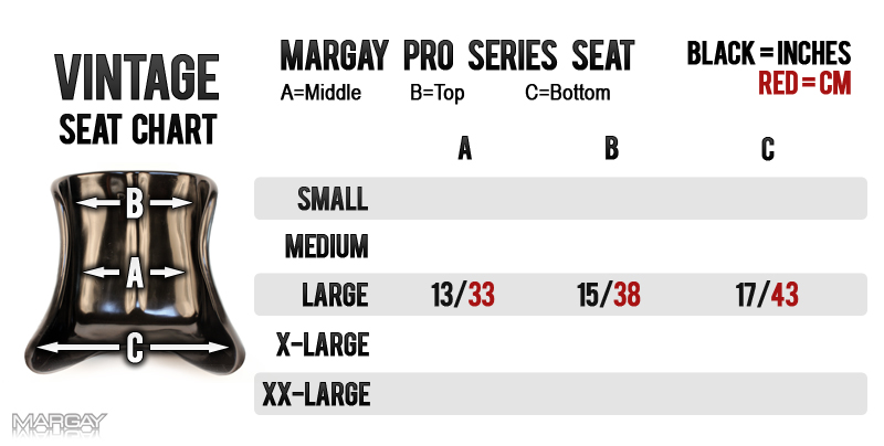 Margay Racing's Vintage Pro Series Seat Sizing Chart