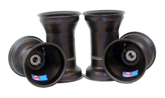 "Aluminium Wheel Set, 5"" x 135mm (17mm) & 5"" x 6.5"" (Metric Mount) Black"