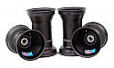 "Aluminium Wheel Set, 5"" x 135mm (17mm) & 5"" x 6.5"" (Metric Mount) Black"